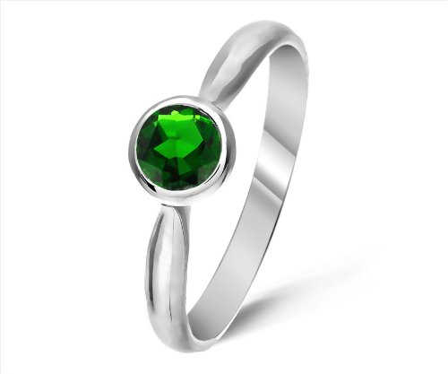 Timeless 9 ct White Gold Ladies Solitaire Engagement Ring with Chrome Diopside 0.25 ct