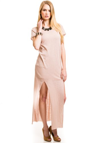 Stretch Tee Slit Maxi In Blush