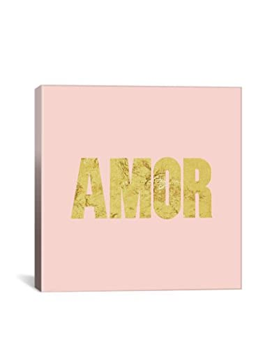 Love International Amor Yellow On Pink Gallery Wrapped Canvas Print