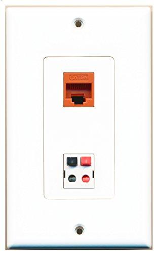 Riteav - 1 Port Cat5E Ethernet Orange 1 Port Speaker Decorative Wall Plate