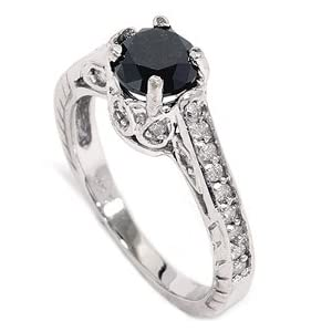 Click to buy Black & White Diamond Vintage Like Engraved Ring from Amazon!
