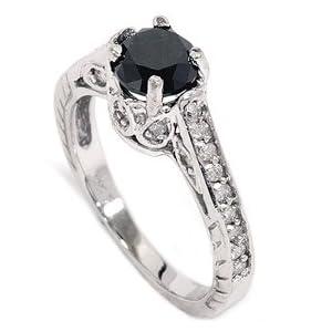 1.23CT Black & White Diamond Vintage Like Engraved Ring