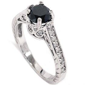 1.23CT Vintage Black Diamond Engagement Ring 14K White Gold