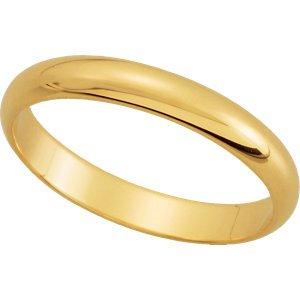 18K Yellow Gold Half Round Wedding Band: 3MM: Size 4
