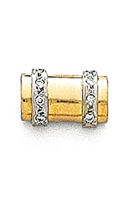 14K Yellow Gold Cylinder Tie Tac With .05 Ct. Diamonds-89955