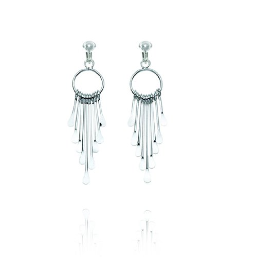 Basics Sterling Silver Hoop Drop Clip On Earrings