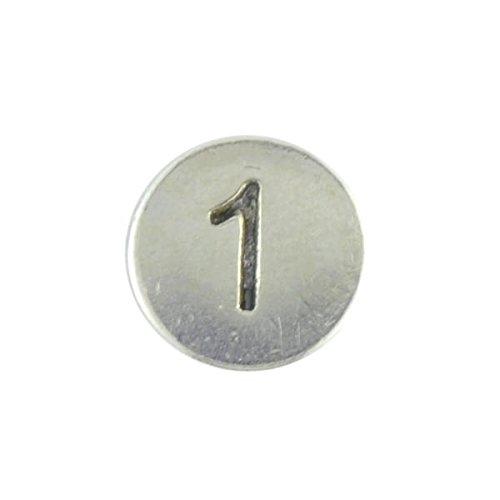 Aus Metall, rund, mit Perlen, Nr. 1, Metall, 1 Stück