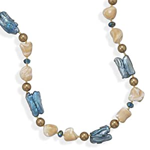 16 Inch+2 Inch 14/20 Gold Filled Necklace With Shell and Baroque Pearl - 16 Inch - JewelryWeb