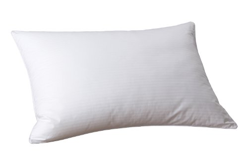 Cuddledown 300 Thread Count Synthetic Stripe Pillow, Standard Medium White front-1008218