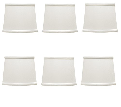 Set Of 6 Upgradelights Drum Style Chandelier Shades In A White Linen