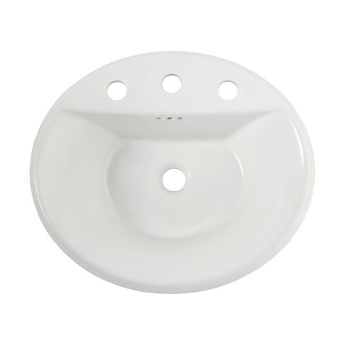 American Standard 0405.008EC.020 Tropic Oval Everclean Surface Countertop Sink, 8-Inch Faucet Holes, White