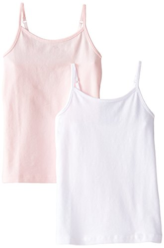 The Children's Place Big Girls' Spaghetti-Strap Camisole (Pack of Two), Shell/White, Large (10/12) (Pink Spaghetti Strap Tank Top compare prices)