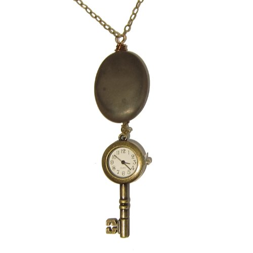 Watch Necklace 01 Chrysanthemum Stone Oval Skeleton Key Antiqued Brass Chain Gem Crystal Healing 26