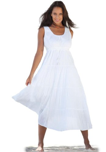 Plus Size Dress In Cool Cotton With 3 Tiers (White,M) | best dress store