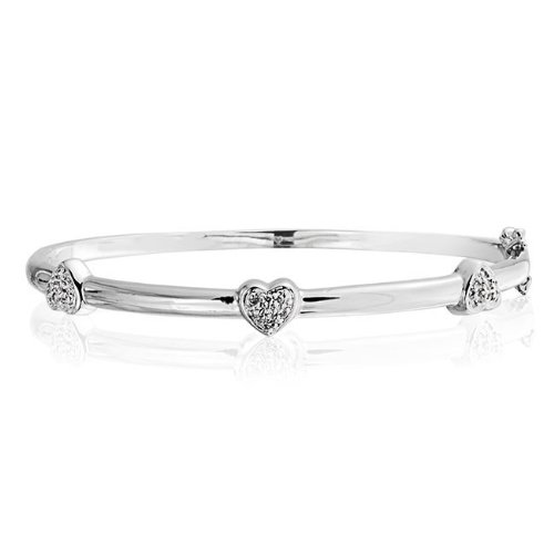 Bling Jewelry Pave CZ Three Heart Bangle Bridal Bracelet Silver Tone