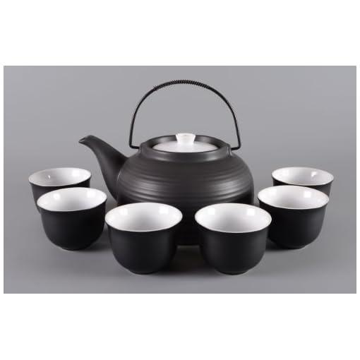 Porzellan-Teeservice-Teeset-Nelly-7-teilig-Kanne-schwarz-matt-Deckel-weiss-Original-Aricola