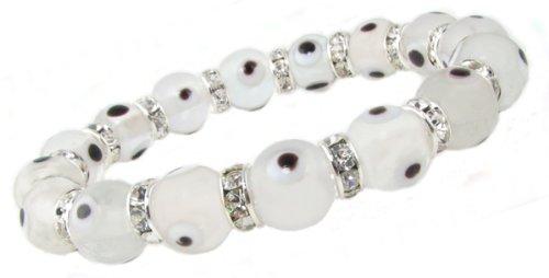 Clear Zirconia Evil Eye Bracelet in 10mm Glass Eye Beads by Love & Lucky