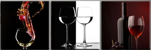 """Wine&Glass&Bottle Digital Wall Art/Printed On Pvc Film And Mounted On Fiberboards/Ready To Hang Set Of 3 Better Than Canvas Prints/Size:Xs/S/M/L/Xl (2) 12""""X12""""X0.4""""(Each Panel)X3Panels)"""