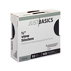 Just Basics Round-Ring View Binder, 1/2in. Rings, 100% Recycled, Black, Pack Of 12