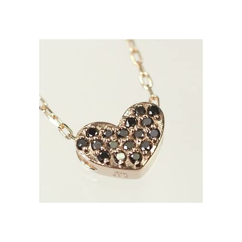 [キュートジュエリー]Cute jewerly ダイヤモンド ペンダント ネックレス K10PG ブラックダイヤ0.1ct ハートパヴェペンダント