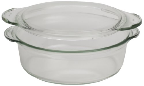 Simax Glassware 6666/6676 Deep Rounded Casserole Pan With Lid, 1.5-Quart