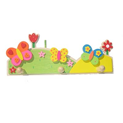 Flower and Butterfly Wooden Clothes Hanger / Childrens Door Hook