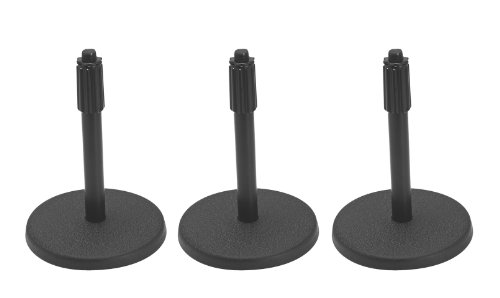 On Stage Ds7200B Adjustable-Height Desktop Microphone Stand - Black - 3 Pack