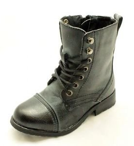Little Boys Black Brushed lace up military ankle boots NEW