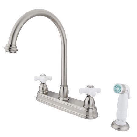 "Elements Of Design Eb3758Px Chicago Two Handle 8"" Kitchen Faucet With White Non-Metallic Sprayer, Satin Nickel"