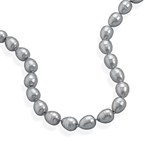 Sterling Silver 17 Inch + 2 Inch Extention Silver Shell Base Pearl Necklace - JewelryWeb