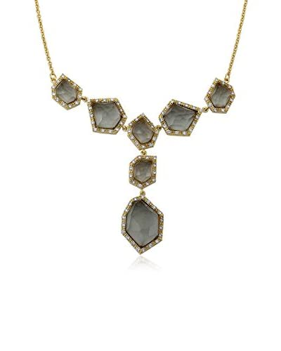 Riccova City Lights Faceted Black Glass Cluster Statement Necklace with CZs