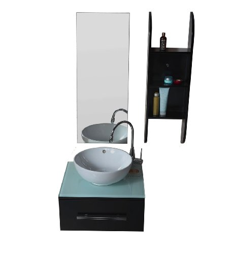 Virtu USA UM-3079 Primo 24-Inch Wall-Mounted Single Sink Bathroom Vanity with Mirror, Tempered Glass Countertop, Espresso Finish