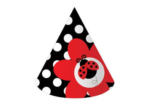 Creative Converting Ladybug Fancy Birthday Party Hats, 8-Count - 1