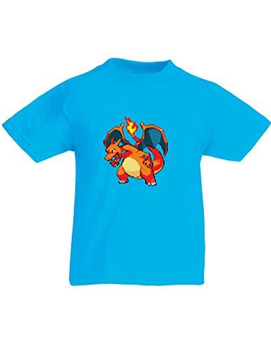 8-Bit Charizard, Kids Printed T-Shirt - Azure/Transfer 7-8 Years