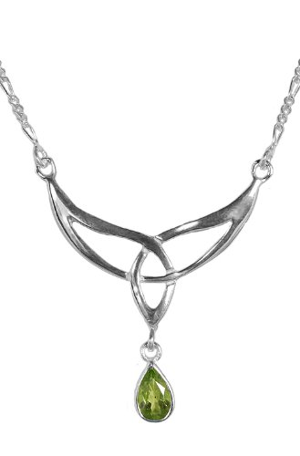 Sterling Silver Pear Shaped Genuine Peridot Celtic Knot Necklace