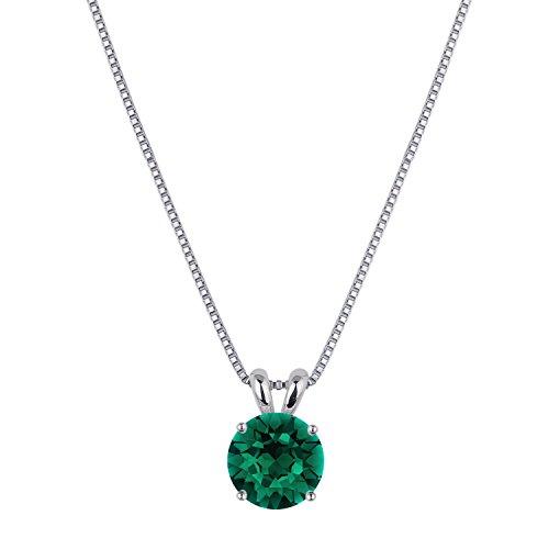 [ジュエリーキャッスル] Jewelry Castle ネックレス 豪華2カラット シンセティック エメラルド ネックレス ペンダント 5月誕生石