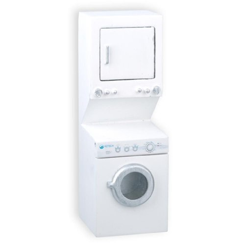 Dollhouse Miniature White Stacked Washer And Dryer front-148335
