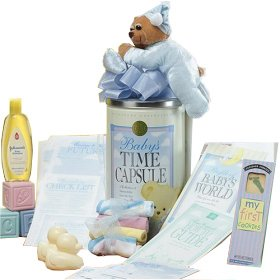 Cherished Memories Baby BOY Time Capsule, Teddy Bear and Baby Bath Gift Basket