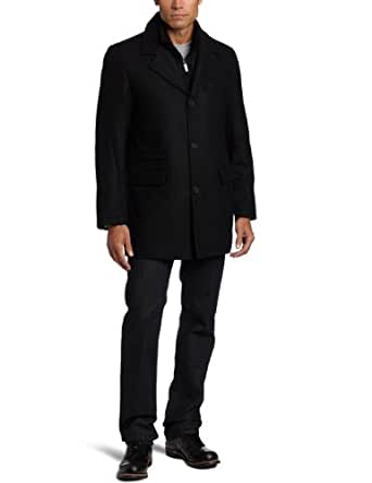 Perry Ellis Men's Button Front Jacket With Bib Insert, Black, Small