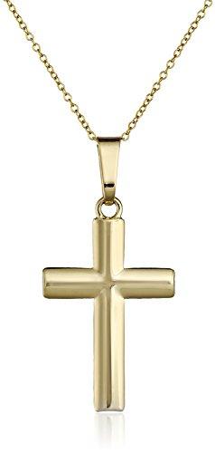 "14k Yellow Gold Cross Pendant Necklace, 18"""