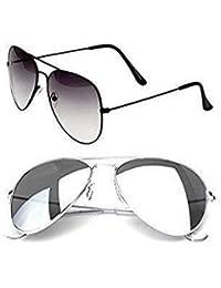 Sheomy Unisex Combo Pack Of Aviator Sunglasses For Men And Women - Mirrored Sunglasses ( Black Black White - Silver...