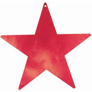 """Amscan Stylish Foil Star Five Pack Party Cutouts, 9"""", Red - 1"""
