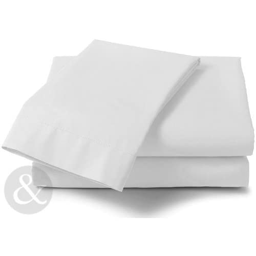 Just Contempo Double Poly Cotton Fitted Sheets - Plain Linen Poly Cotton Bedding Bed Fitted Sheet, White