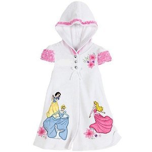 Disney Store Disney Princess (Princesses Cinderella, Snow White and Aurora (Sleeping Beauty)) Terry Cloth Hooded Swimsuit Cover Up Hoodie Pool Dress For Girls : Size XXS 2/3