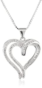Sterling Silver Diamond Heart Pendant Necklace (1/3 cttw, I-J Color, I2-I3 Clarity), 18