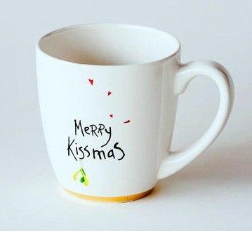 """Mistle Toes"" Merry Kissmas With Mistletoe And Hearts Coffee / Tea Mug, 8 Inches, Stoneware"