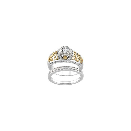 1/4 Cttw Engagement Ring Diamond Engagement Ring In 14K White And Yellow Gold ( Size 6 )