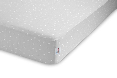 GUND Babygund Twinkle Twinkle Deluxe 300 Thread Count Crib Sheet, Twinkle Twinkle - Golly Grey, 28'' By 52''