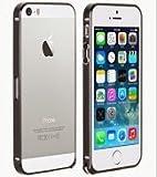 超薄 iphone5・5S アルミ削りだし バックル式 バンパー ケース / カバー 0.7mm 【iphone & iPad 用 ホームボタン シール 付き】 (ブラック, おまけホームボタン 白×金)