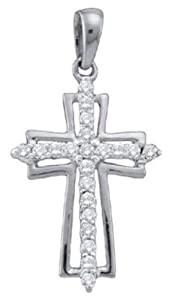 Pricegems 14K White Gold Ladies Round Brilliant Diamond Cross Pendant (0.24 cttw, I-J Color, I1/I2 Clarity)